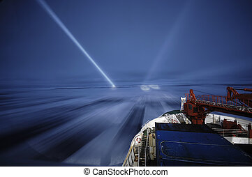 Icebreaking at night - Icebreaking in Antarctica during...