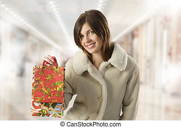 cute girl with present shopping bags
