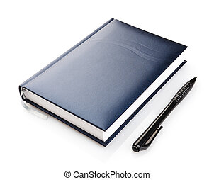 notebook with pen on a white background