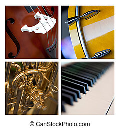 Musical instruments - Various close up of musical...