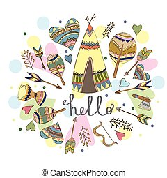Illustration of a wigwam - funny doodle card