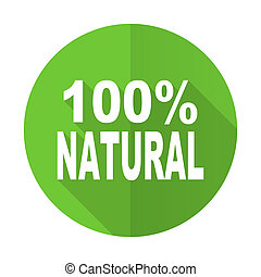 natural green flat icon 100 percent natural sign