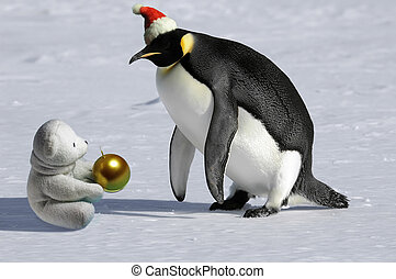 Rare Christmas meeting - Penguin meets icebear on Christmas