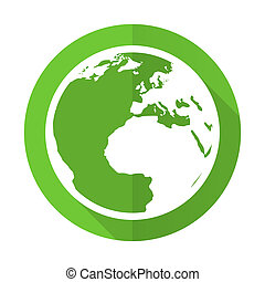 earth green flat icon world sign