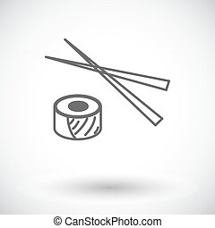 Sushi icon. - Sushi. Single flat icon on white background....