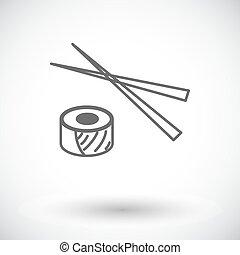 Sushi icon. - Sushi. Single flat icon on white background....