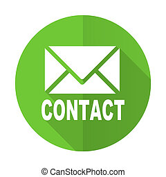 email green flat icon contact sign