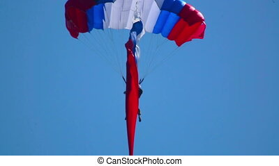 Paratrooper with flag - paratrooper with the Russian flag
