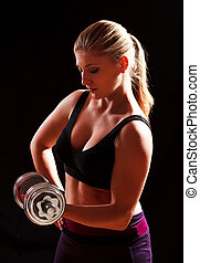 female bodybuilder - woman lifting weights