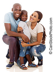 little african boy and parents isolated on white background