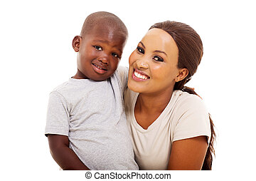 young black woman with her son
