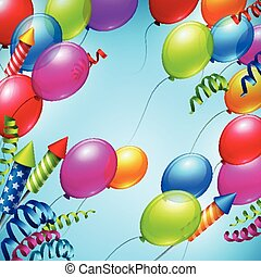 Balloons in the blue sky. Vector illustration