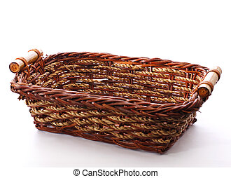 wicker basket - decorative wicker basket isolated on white