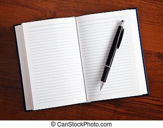 caderno, e, caneta,
