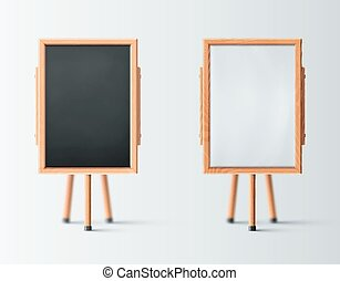 Two Wooden Easel - Two wooden easel, blank board, eps 10