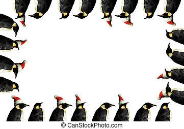 Penguin christmas frame - Antarctic penguin frame for...