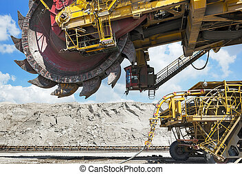 coal mining - Giant coal loader in open-cast mine