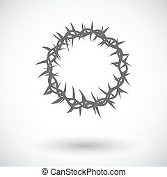 Crown of thorns single icon - Crown of thorns Single flat...
