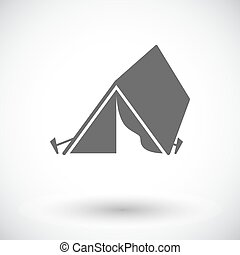 Tourist tent. Single flat icon on white background. Vector...
