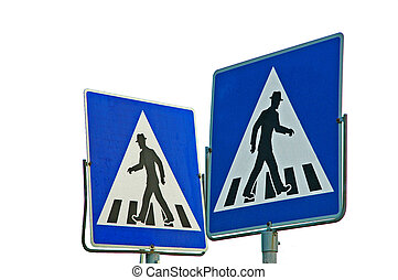 Crosswalk - Two of zebra crossing traffic signs showing into...