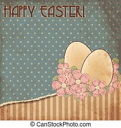 Happy Easter old greeting card, vector illustration