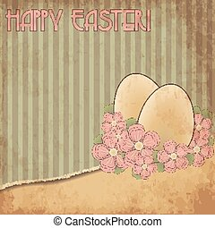 Happy Easter old cover card, vector illustration
