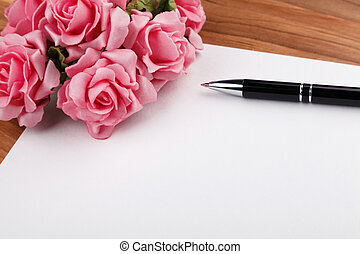 blank sheet of paper with flowers