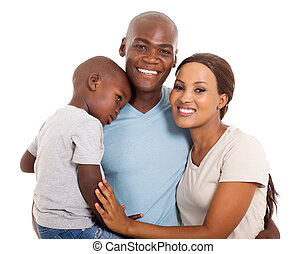 young african family portrait - modern young African family...