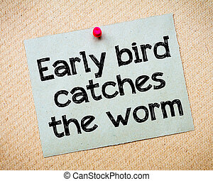 Early bird catches the worm Message. Recycled paper note...