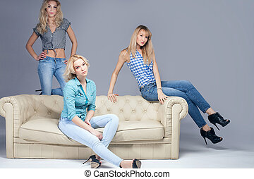 Fashion photo of three blonde woman. - Three beautiful young...