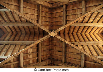 Wooden roof-truss - An absolute symmetric picture of a...