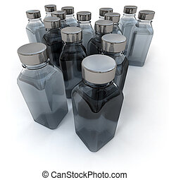 Grey and black little bottles - 3D rendering of a large...
