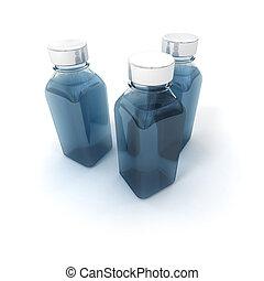 Three little bottles - 3D rendering of three little bottles...