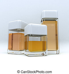 3 containers amber - 3D rendering of 3 containers in...