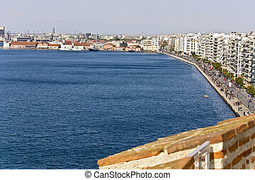 The harbor and seafront of Thessaloniki city in Greece