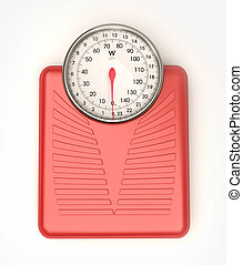 Weight scale red - 3D rendering of a blue weight scale