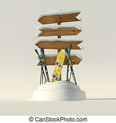 Winter sports sign - 3D rendering of a snow covered...