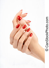 Red manicure - Well-groomed female hands with the beautiful...