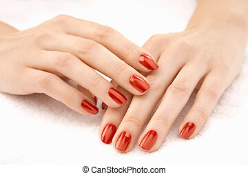 Female handles - Beautiful well-groomed female hands with...