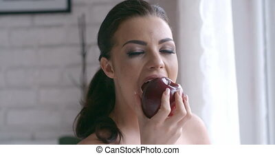Close up Pretty Woman Biting Sweet Red Apple - Close up...
