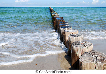 wooden groynes at the beach of german baltic sea