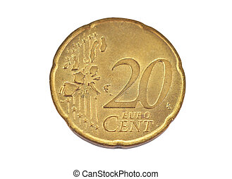 Coin, denominational value 20 euro cent on white background
