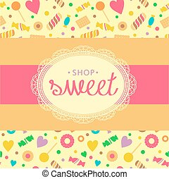 Sweet shop - Template logo for candy store. Candy and...