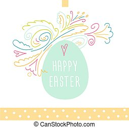 Happy Easter - Easter egg and floral pattern. Happy Easter