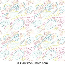 Seamless background with a pattern of flowers, waves and...