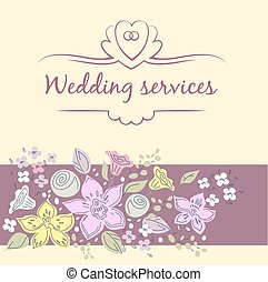 Wedding service. - Vector logo with shell and pearl....