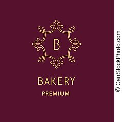 Bakery logo - Template logo for the bakery Monogram and...