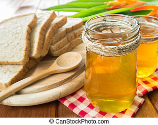 honey - Honey in glass jar