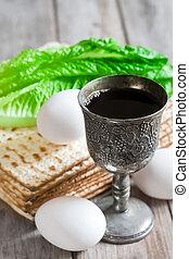 Passover - Wine, egg, bitter salad leaves, matzot -...