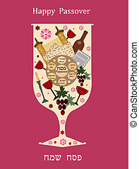 abstract wine glass for passover. - abstract wine glass with...